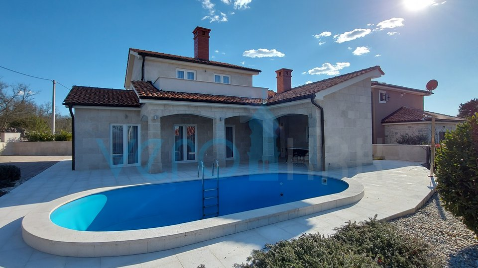 Dobrinj, wider surroundings, new stone house with pool and sea view