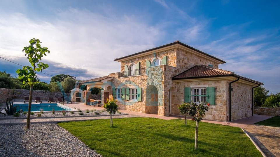 The town of Krk, surroundings, new stone villa with pool and garden