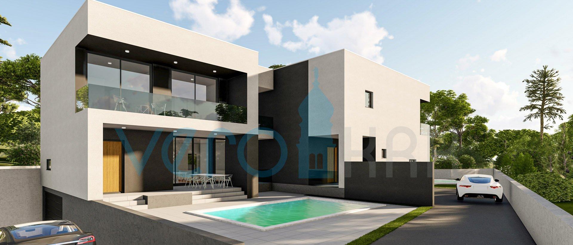 Malinska, otok Krk, moderna kuća sa bazenom, podzemnom garažom i pogledom na more