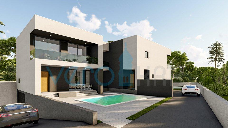 Malinska, otok Krk, moderna dvojna kuća sa bazenom, okućnicom, garažom i pogledom na more