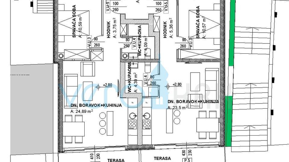 Jadranovo, jednosoban stan 1 red do mora u novogradnji