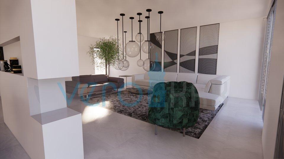 Malinska, otok Krk, moderna hiša z bazenom, podzemno garažo in pogledom na morje