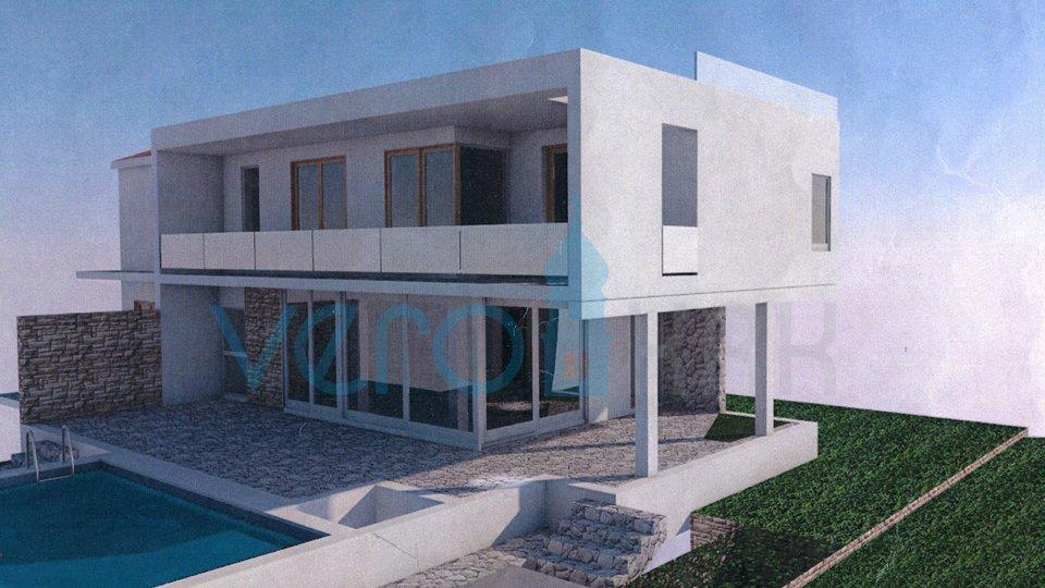 Grad Krk, šira okolica, nova kuća sa bazenom i pogledom na more