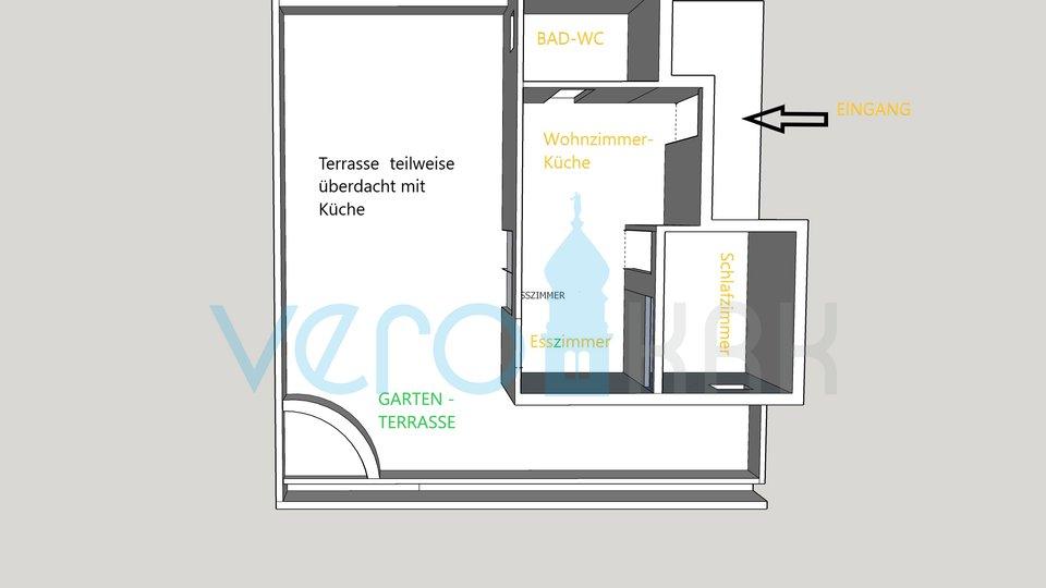 Malinska, moderni apartmaji 90m2, 105m2 dvorišča, 250m od morja