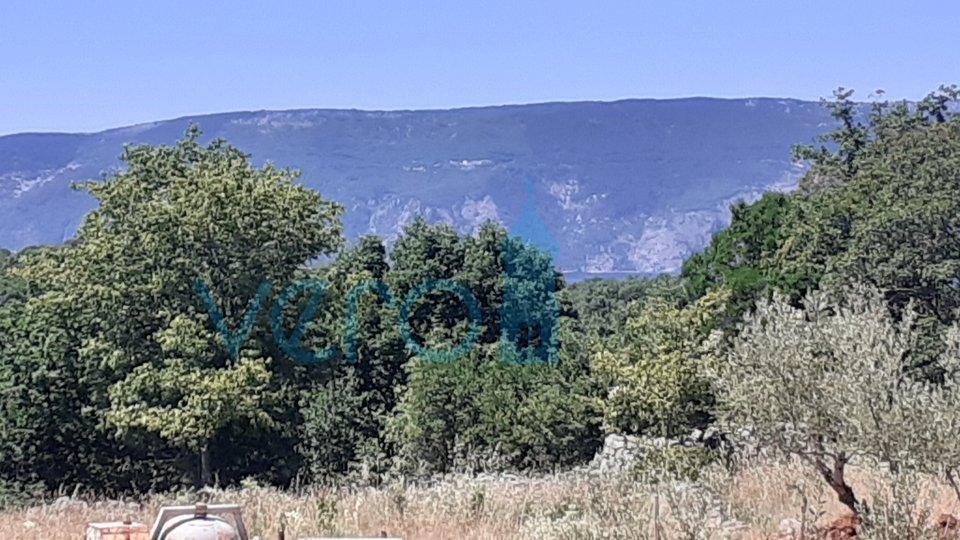 Grad Krk, okolica, građevinski  teren 828m2, pogled na more