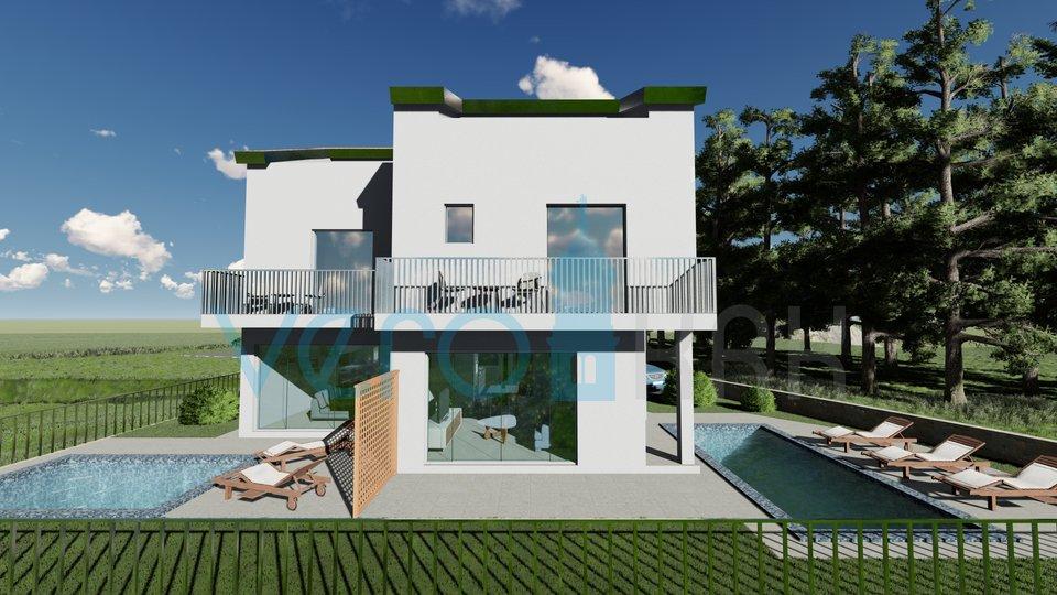 Punat, otok Krk, moderna dvojna kuća sa otvorenim pogledom na more