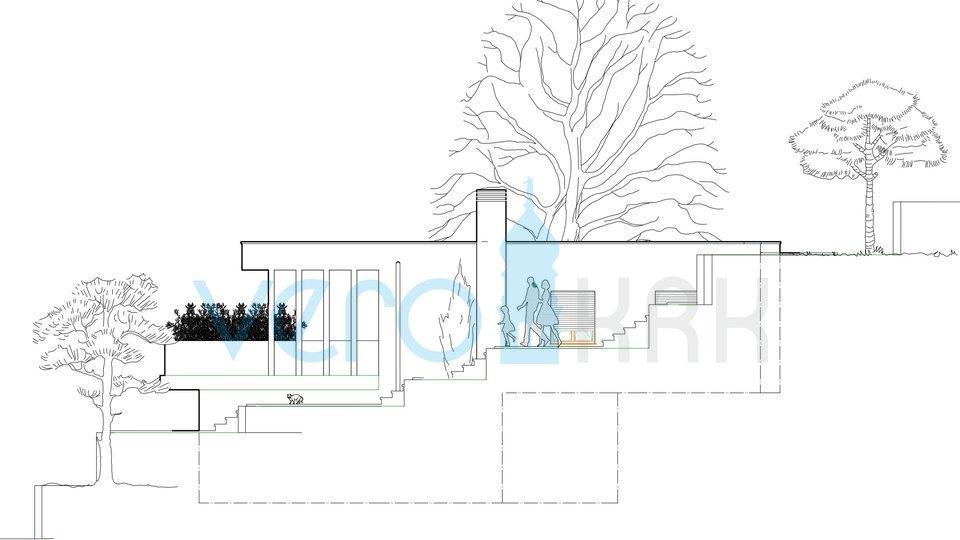 Vrbnik, stavbno zemljišče s projektom in pogledom na morje
