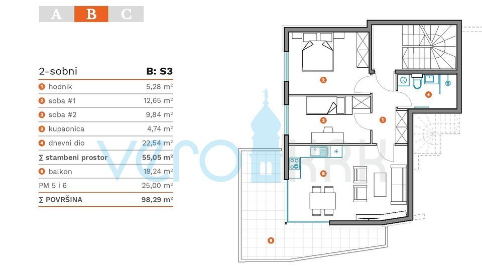 Wohnung, 55 m2, Verkauf, Krk