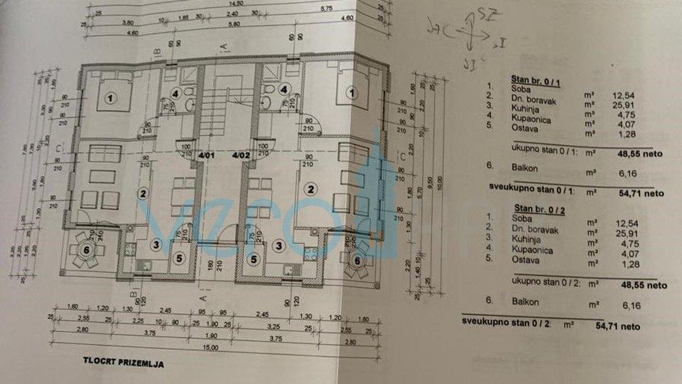 Otok Krk, Čižići, stan od 55 m2 u prizemlju sa okućnicom