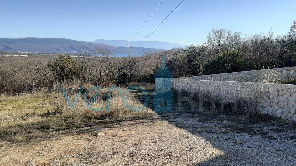 Otok Krk, okolica, građevinsko zemljište s pogledom na more i grad Krk