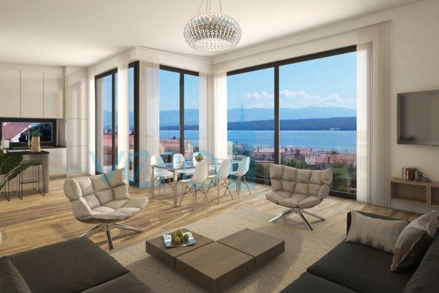 Malinska, otok Krk, moderan apartman s pogledom na more