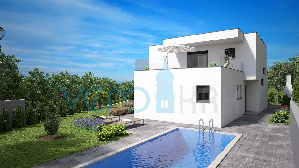Malinska, okolica, moderna vila s bazenom i okućnicom