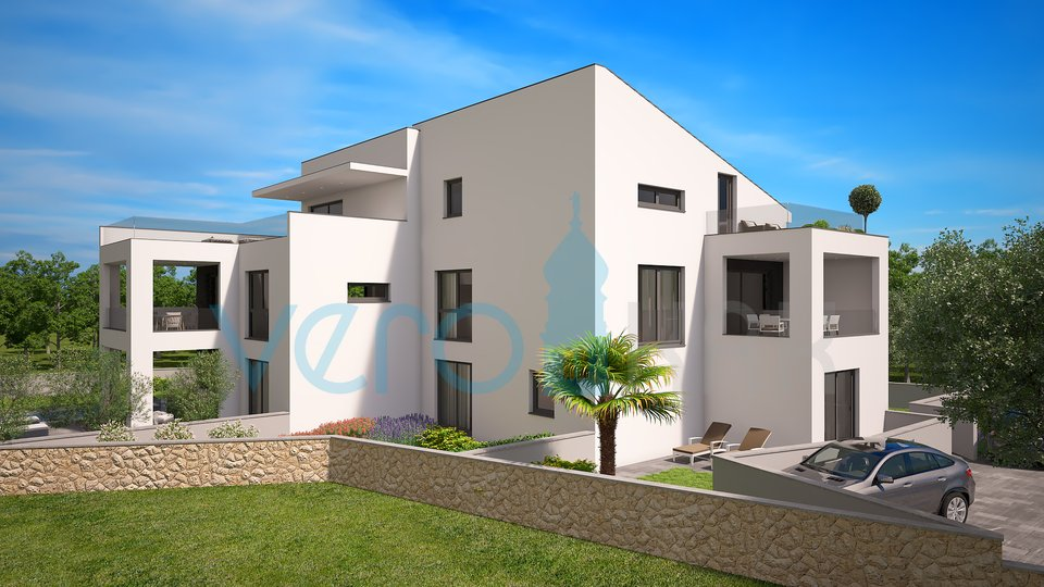 City of Krk, modern apartment with garden and sea view
