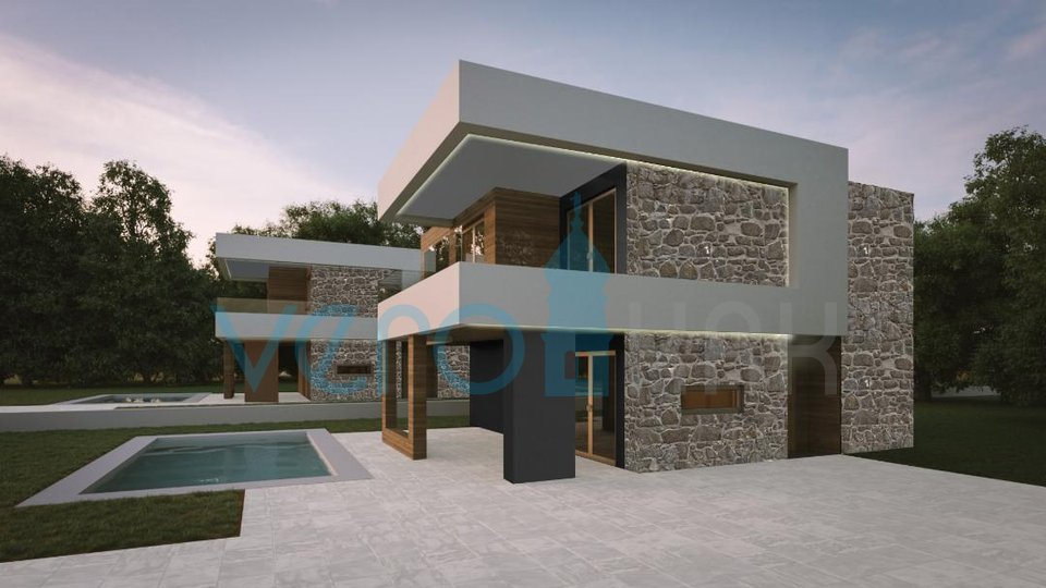 The town of Krk, wider surroundings, villa with pool and sea view