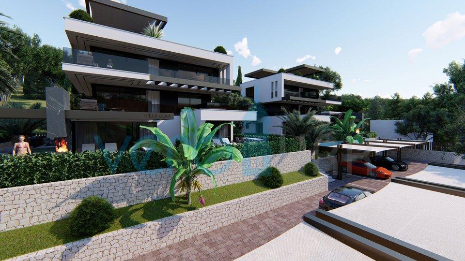 Njivice, otok Krk, apartman sa bazenom u prizemlju moderne vile