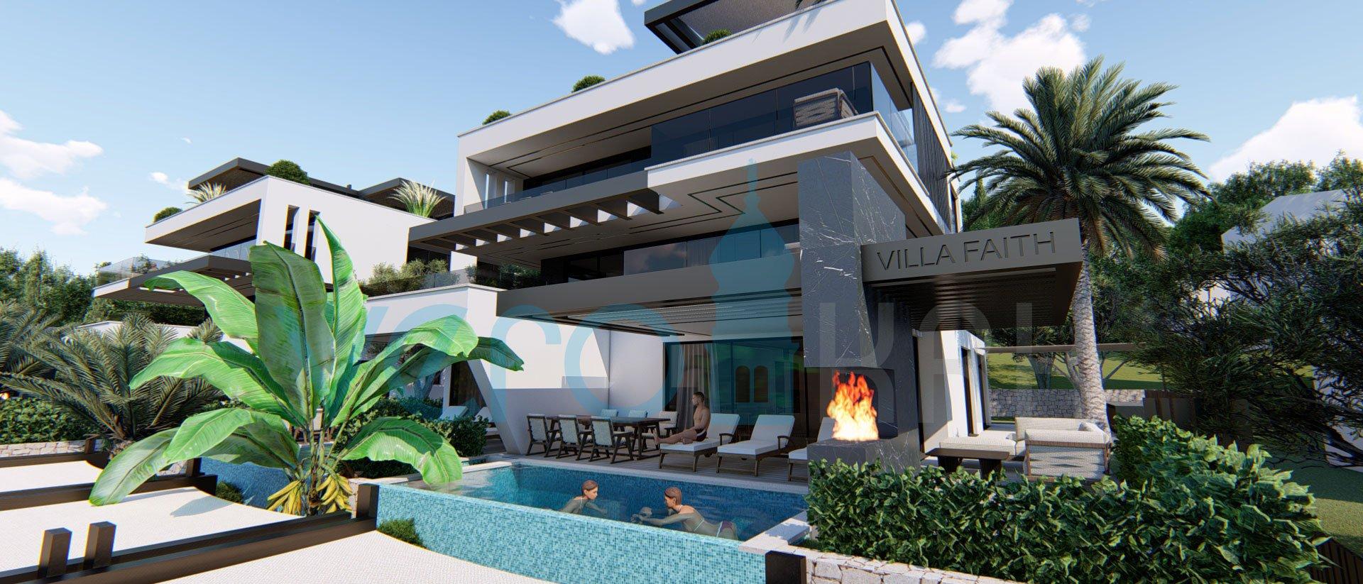 Njivice, Insel Krk, Wohnung mit Pool im Erdgeschoss einer modernen Villa