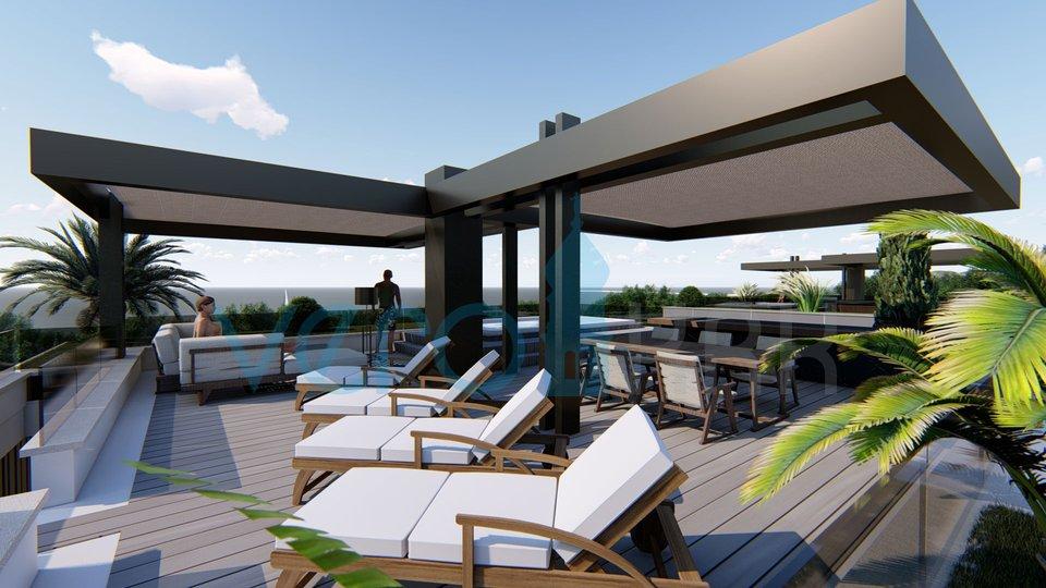 Njivice, otok Krk, apartma z bazenom v pritličju moderne vile