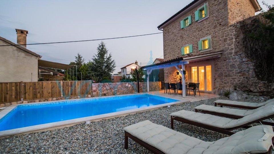 The island of Krk, Vrbnik surroundings, stone villa with pool