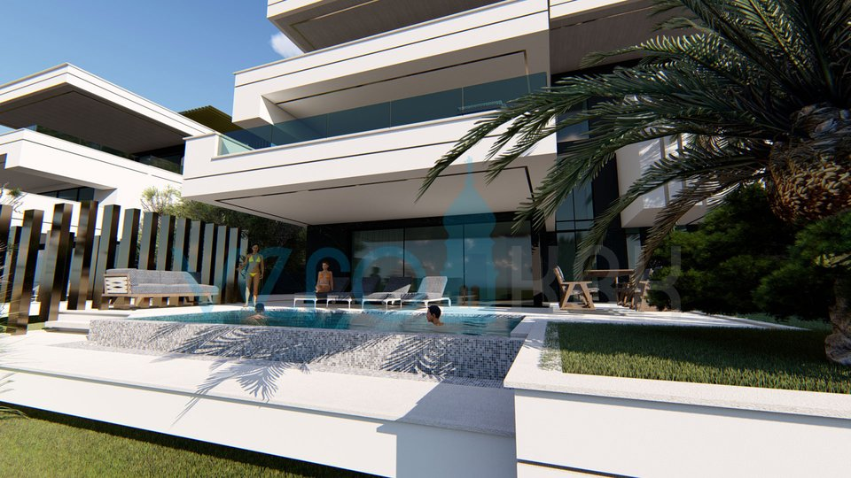 Malinska, luxury ground floor apartment with pool 70m from the beach, in the desired location