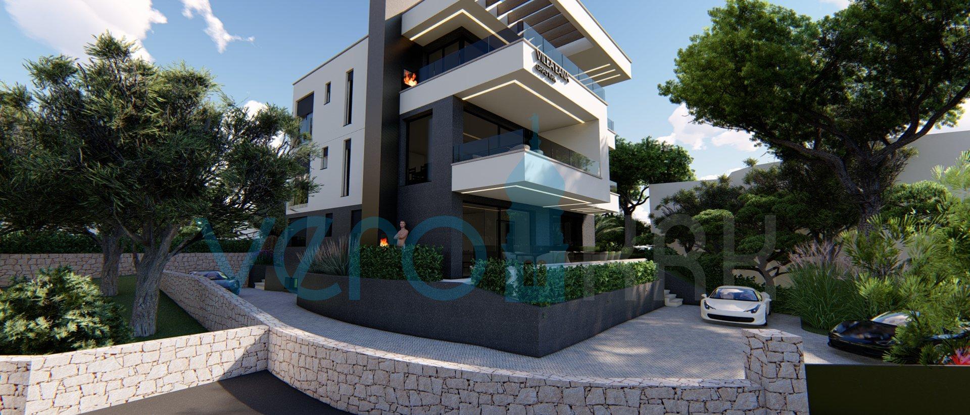Die Stadt Krk, moderne Wohnung im Erdgeschoss einer neuen Villa mit Meerblick