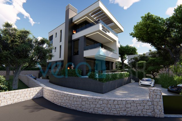 The town of Krk, modern apartment on the ground floor of a new villa with sea views