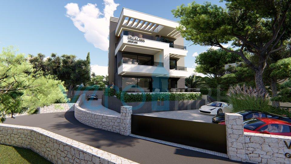 La città di Krk, moderno appartamento al primo piano di una nuova villa con vista panoramica sul mare