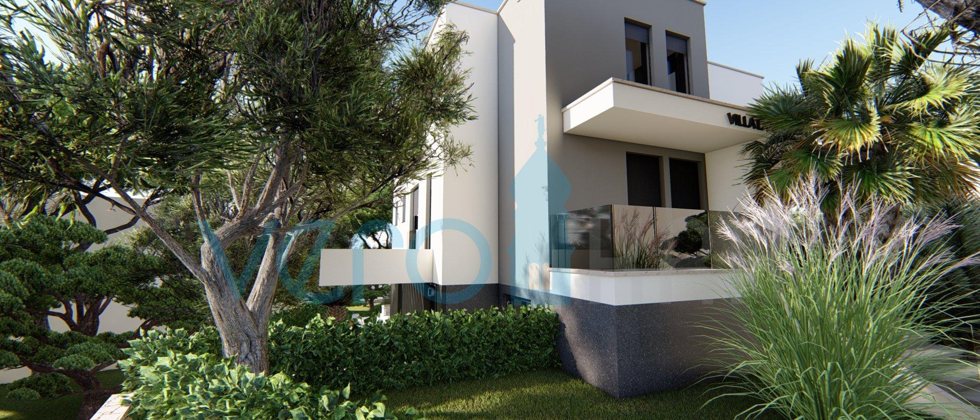 Die Stadt Krk, moderne Wohnung im ersten Stock einer neuen Villa mit Panoramablick auf das Meer