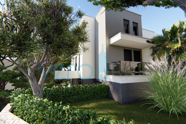 The town of Krk, modern apartment on the first floor of a new villa with panoramic sea view