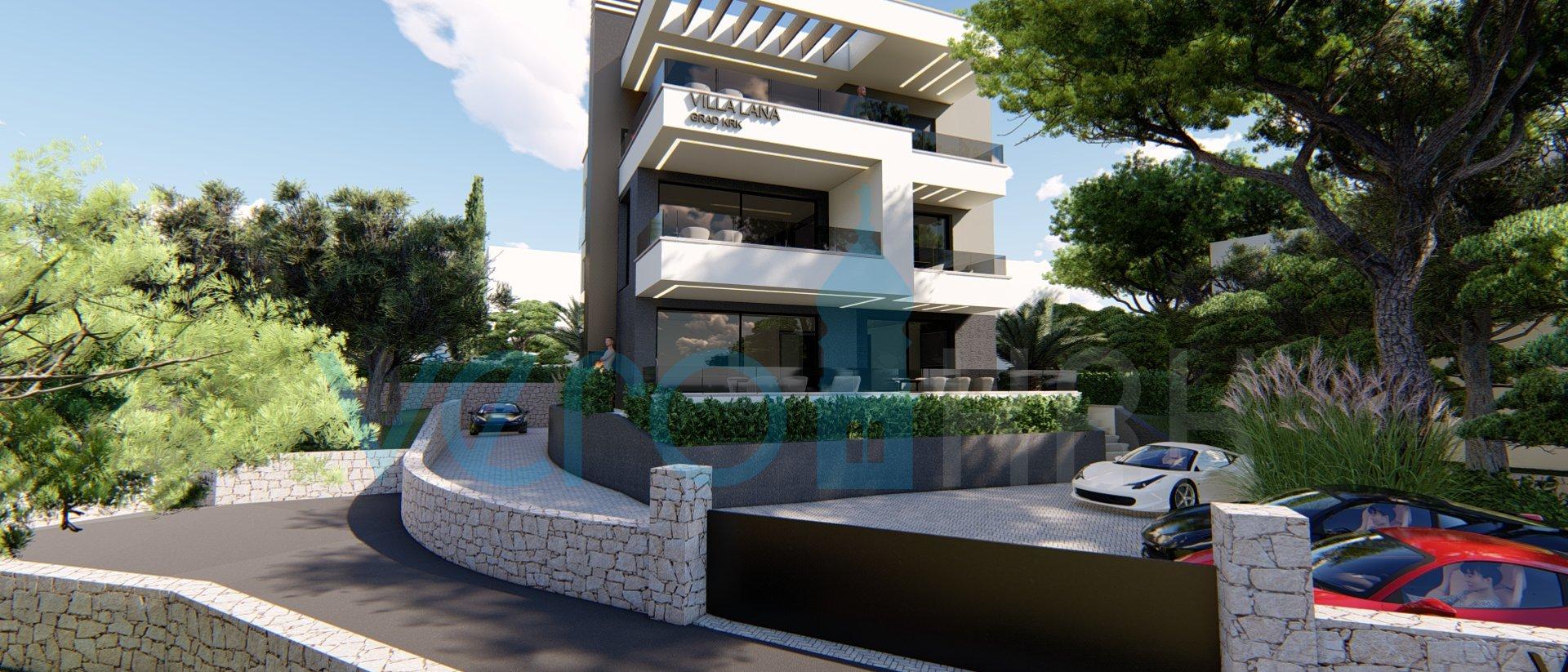 Die Stadt Krk, schöne Penthouse-Wohnung mit Blick auf das Meer und die Stadt Krk
