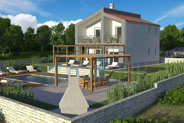 Vrbnik, island of Krk, dynamic detached house with pool and large garden