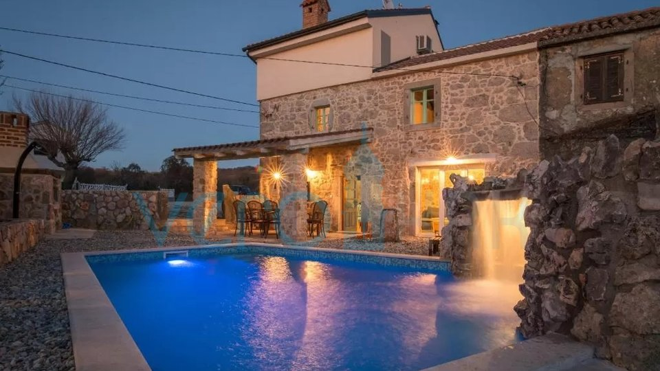 The island of Krk, Vrbnik, surroundings, stone house with pool and landscaped garden