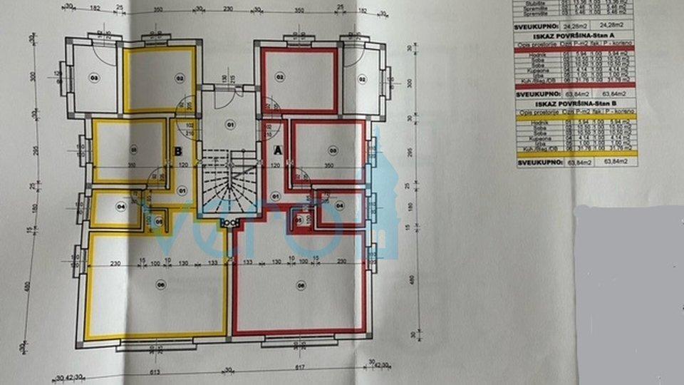 Dobrinj, okolica, započeta gradnja od 252 m2 sa velikom okućnicom