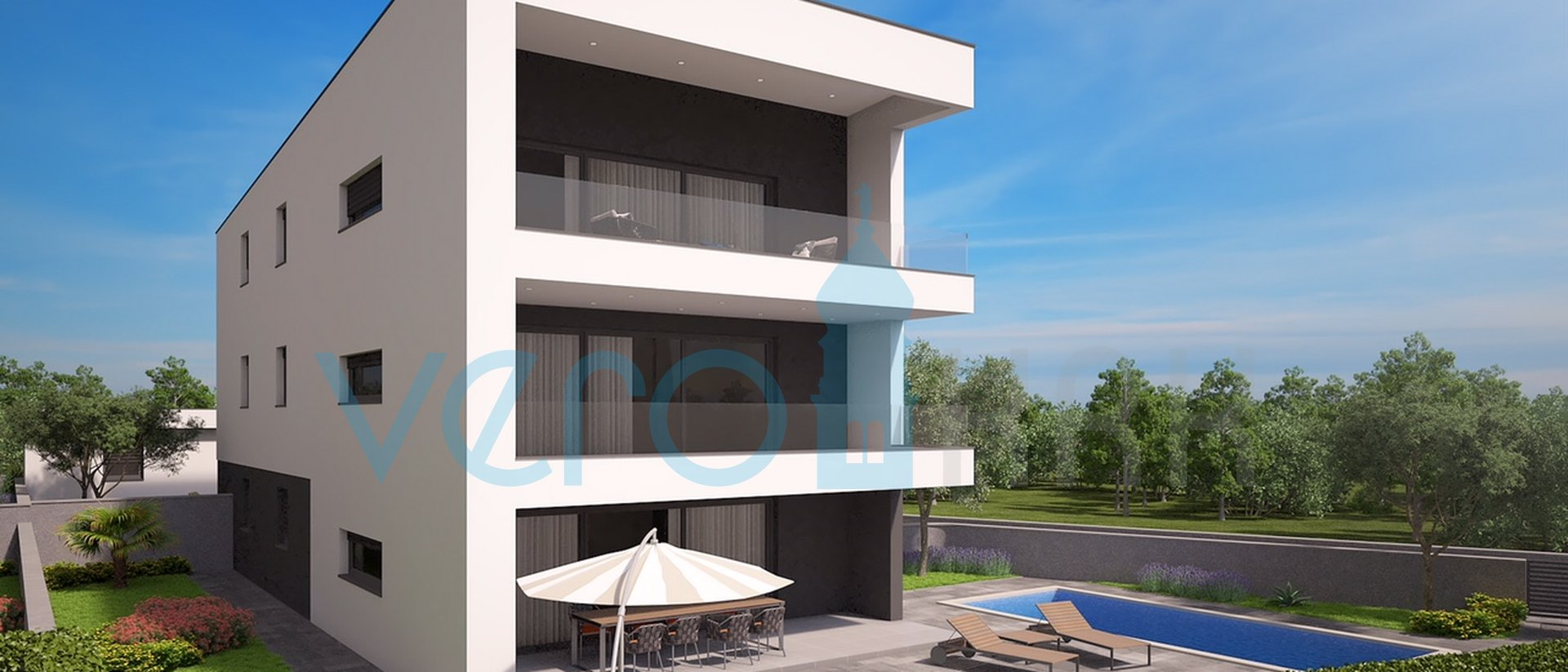 Malinska, Insel Krk, Umgebung, moderne Wohnung mit Pool und Aussicht, 130m vom Meer entfernt