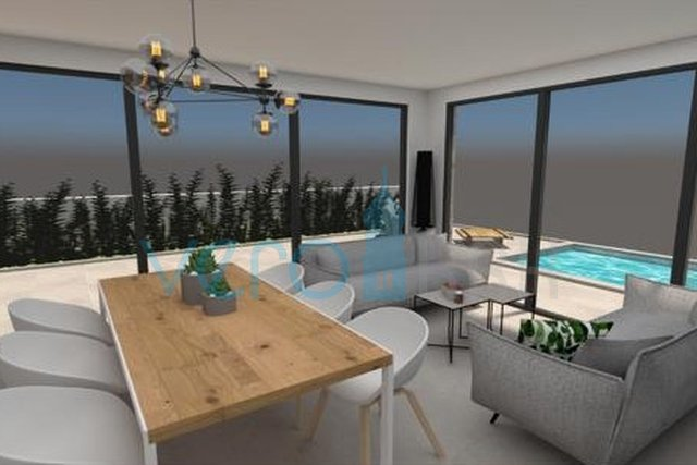 Grad Krk, elegantan dvosobni stan sa okućnicom i bazenom
