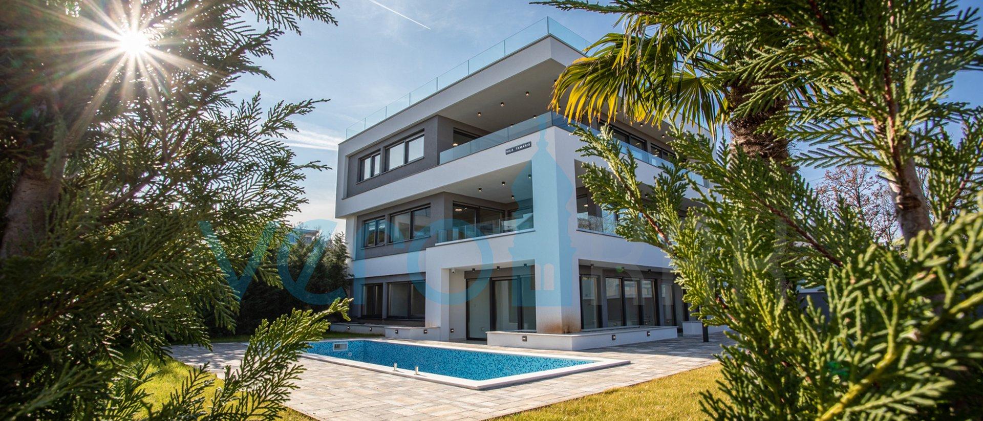 Malinska, otok Krk, ekskluzivni apartman u prizemlju sa bazenom i pogledom na more