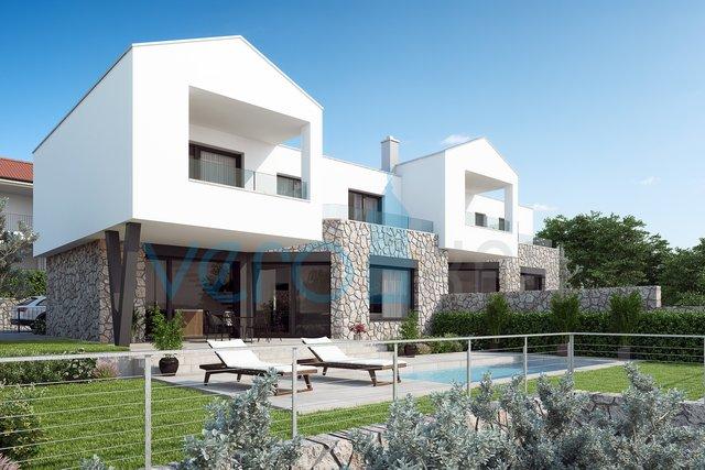 Mesto Krk, širša okolica, Šotovento, moderna dvojček hiša z bazenom in pogledom na morje