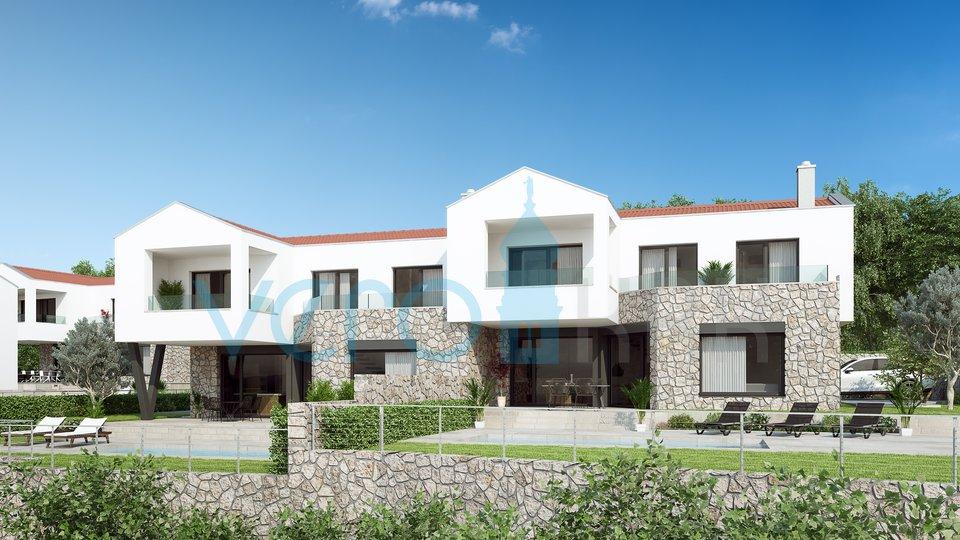 Grad Krk, šira okolica, Šotovento, moderna dvojna kuća sa bazenom i pogledom na more