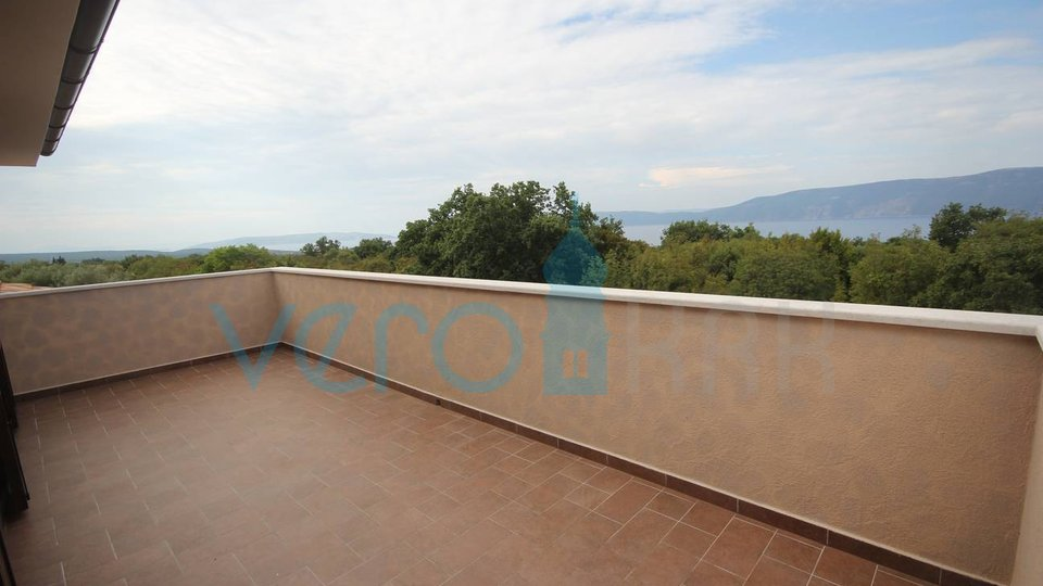 The town of Krk, surroundings, new stone house with pool and panoramic sea view