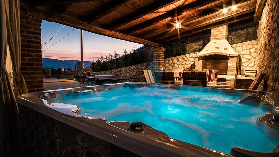 The town of Krk, Šotovento, beautiful stone villa with pool and sea view