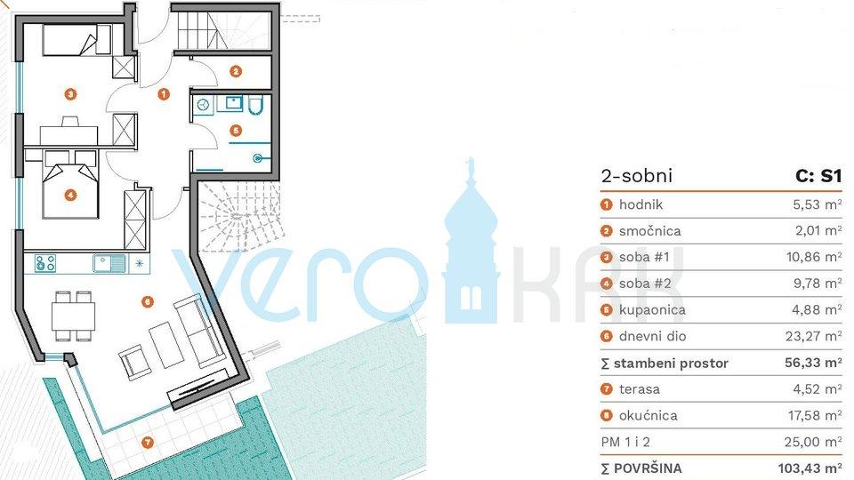 Apartment, 56 m2, For Sale, Krk
